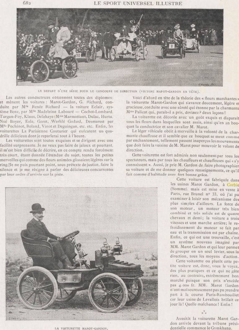 Article sur les voitures MAROT GORDON