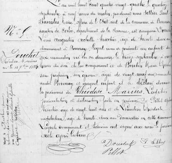 Acte naissance du soldat Douchet marius augustin Bonnay