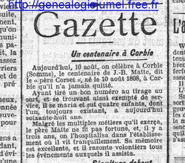 gazette centenaire à corbie