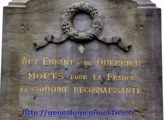 Inscription monument querrieu