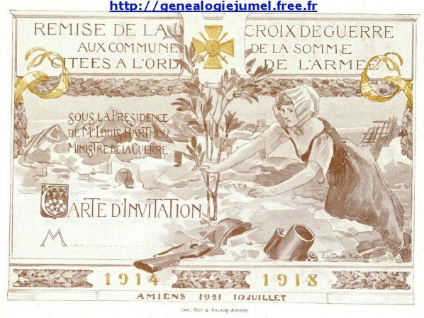 invitation remise croix guerre 14/18 somme