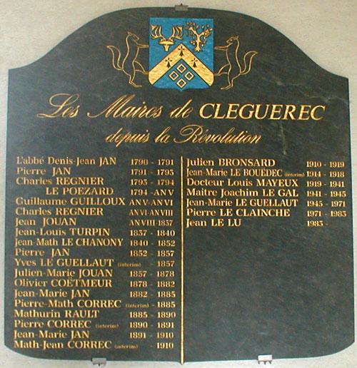 maires-plaque cleguerec