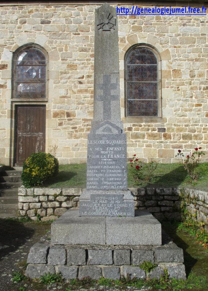 monument aux morts lescouet gouarec 22