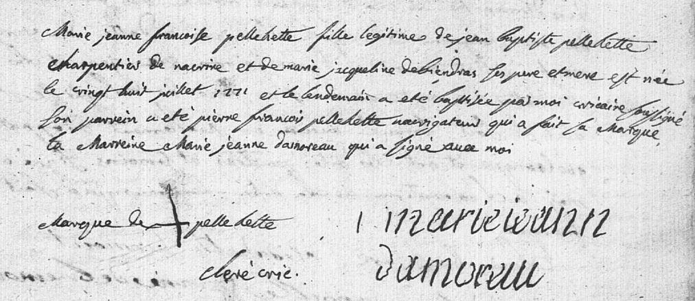 Acte naissance Marie-Jeanne-Françoise Pellehette