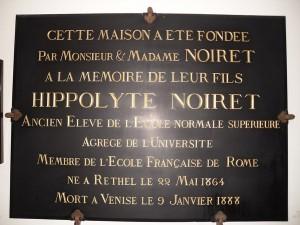 plaque pour H NOIRET FOUILLOY