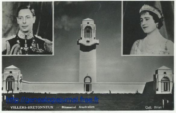 22 juillet 1938 inauguration du memorial de Villers-Bretonneux / Fouilloy