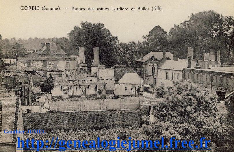 ruine usines Lardieres jules et B  bullot 1918 corbie