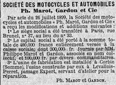 statut usine Marot GARDON