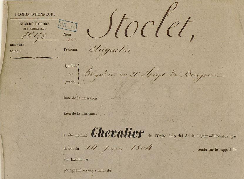 chevalier legion d'honneur Stoclet augustin